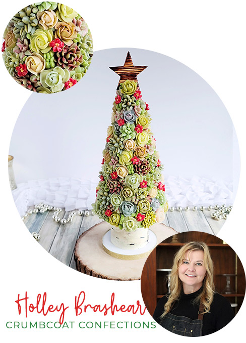 Buttercream Succulent Christmas Tree with Crumbcoat Confections